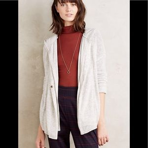 Anthropologie Moth grey snapfront wool hoodie